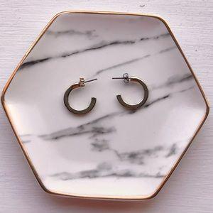 Sterling Silver half hoop earrings gold coated